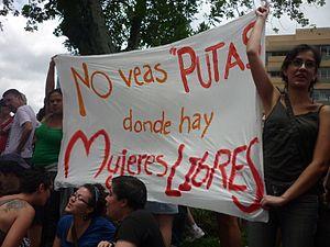 Español: Marcha de las putas en Costa Rica, fr...