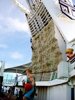 English: Rock climbing wall on Royal Caribbean...