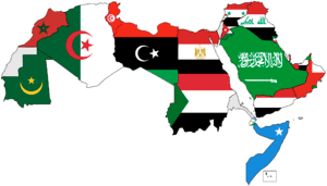 English: Map of Arabic-speaking countries Flag...