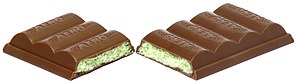 English: A Nestle Aero Mint bar split in half.