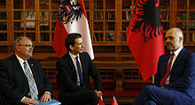 Austrian Foreign Minister Sebastian Kurz and Austrian Justice Minister Wolfgang Brandstetter meet the Albanian Prime Minister Edi Rama in Tirana, Albania. (June 17, 2014)