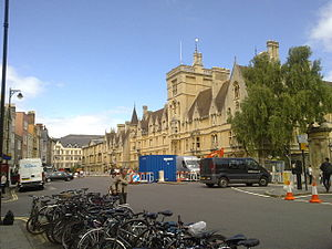 English: The front of Balliol College as viewe...