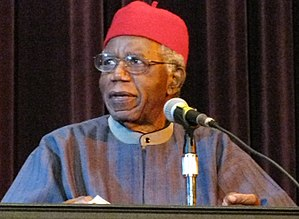 English: Chinua Achebe speaking at Asbury Hall...