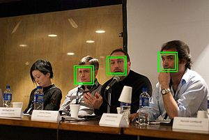 English: Illustration of automatic face detection.