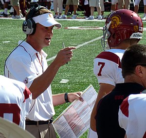 English: USC Trojans football Head Coach Lane ...