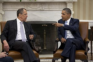 President Barack Obama meets with Russian Fore...