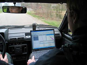 Satellite navigation using a laptop and a GPS ...