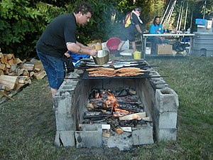 Grilling salmon, Seafair Indian Days Pow Wow, ...