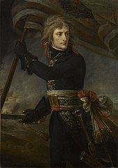 Three-quarter length depiction of Bonaparte, with black tunic and leather gloves, holding a standard and sword, turning backwards to look at his troops