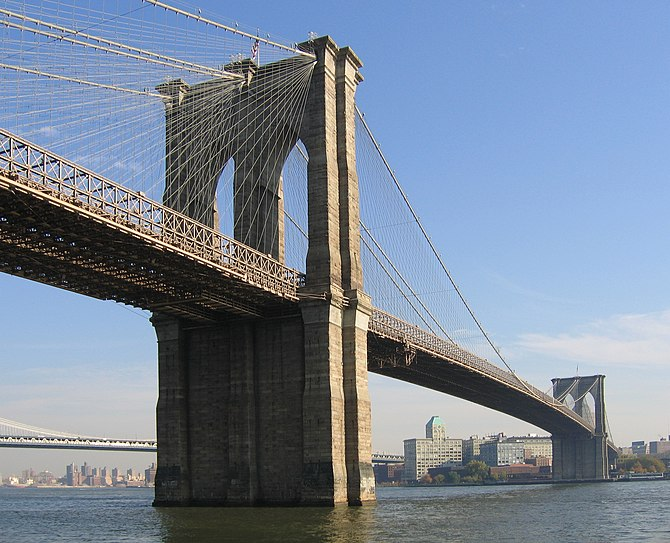 English: The Brooklyn Bridge, seen from Manhat...