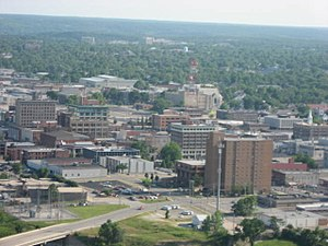 Aerial view of Downtown Joplin, MO, USA