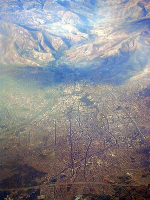 The city of Orumieh, Iran. Taken from a plane.