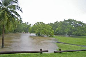 Heavy rain and high tide causing flooding of R...