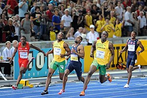English: 100 m final at the World Championship...