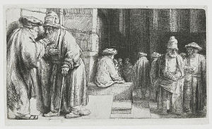 English: Pharisees in the Temple in the synagogue