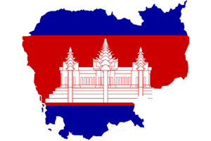 Flag of Cambodia set to the shape of the country.