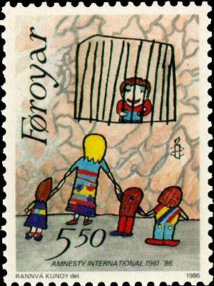 1986 Faroe postage stamp celebrating Amnesty's...