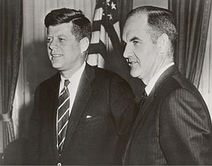 U.S. President John F. Kennedy (left) with Geo...