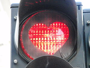 English: Heart shaped traffic sign Nederlands:...