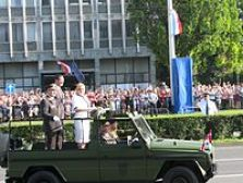 President Grabar-Kitarović with General Drago Lovrić and Defence Minister Ante Kotromanović at 2015 Military Parade in Zagreb commemorating the 20th anniversary of Operation Storm
