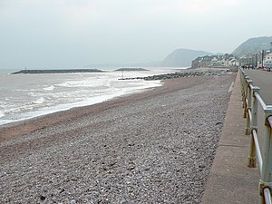 English: Sidmouth sea front Agrey sea, a grey ...
