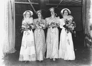 English: Bevy of bridesmaids, 1938 Bridesmaids...
