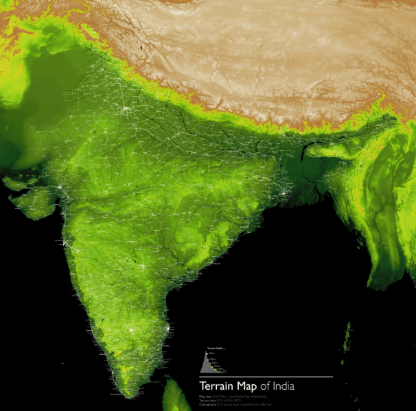 Terrain Visualization of India using SRTM and Openstreetmap data