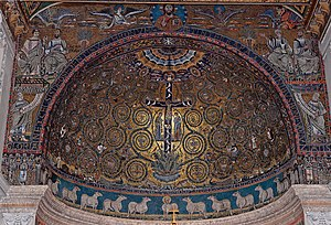 English: Triumph of the Cross. Apsis mosaic fr...