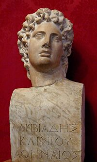 "So-called ""Alcibiades"", ideal male portrait. Marble, Roman copy after a Greek original of the 4th century BC—the hermaic pillar and the inscription (""Alcibiades, son of Cleinias, Athenian"") are modern additions."