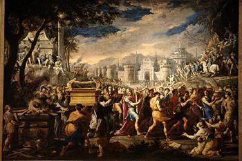 David bearing the ark of testament into Jerusalem