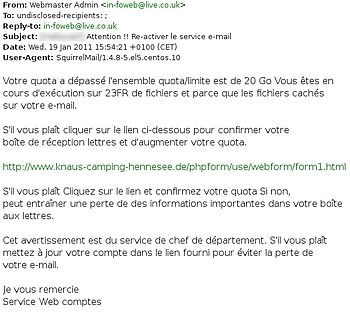 English: French email account phishing attempt.
