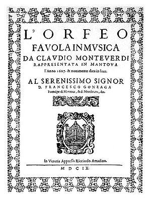 Frontispiece of Monteverdi's opera L'Orfeo, pr...