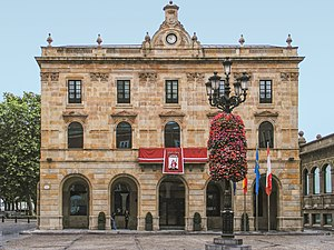 English: Gijon, Asturias, Spain. Town Hall. Bu...