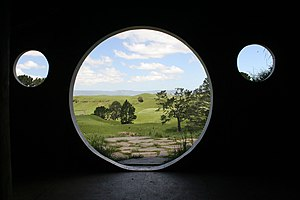 From inside on of the hobbit holes, on locatio...