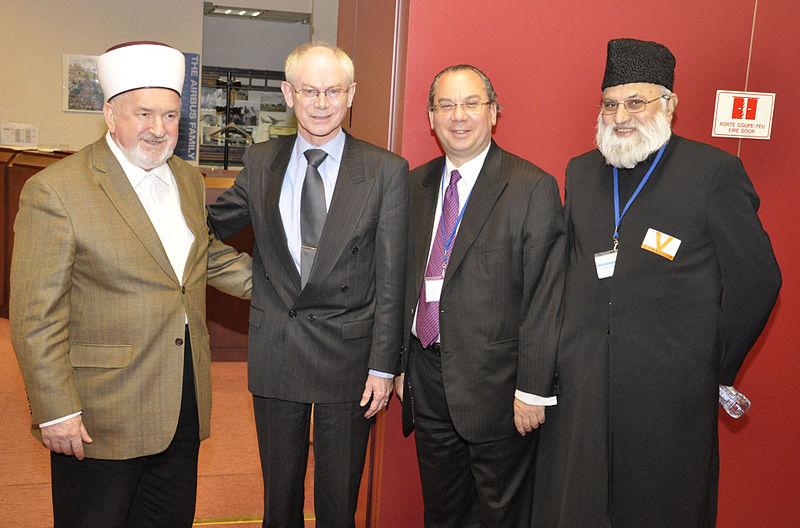 File:Interreligious-Meeting - Mustafa Ceric - Herman Van-Rompuy-Marc-Schneier - Abdujalil Sajid - Brussels 2010.jpg
