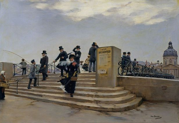 """""""A Windy Day on the Pont des Arts"""" by Jean Béraud"""