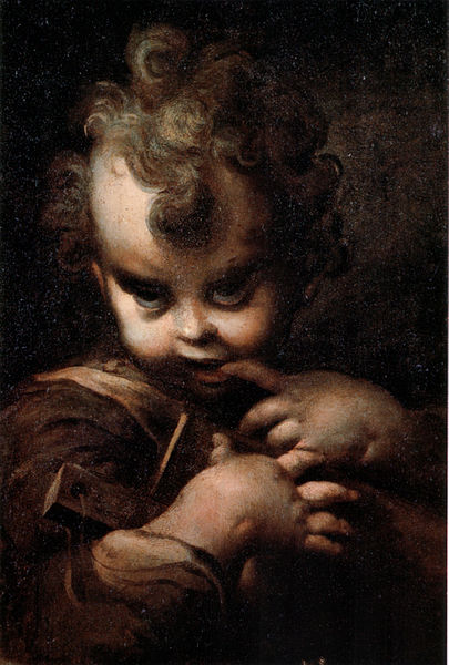 Parmigianino, Immagine del dipinto Fanciullo con l'abbecedario e il dito in bocca