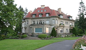 The rear of the Pittock Mansion
