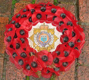 Poppy wreath at war memorial in London (Stockwell)
