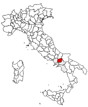 Locator map of the province of Benevento, in I...