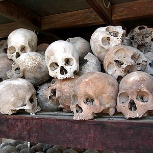 Skulls of Khmer Rouge victims.