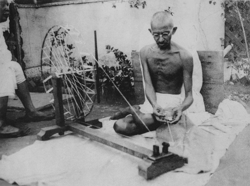 800px Gandhi spinning - Gandhi Jayanti 2nd Oct in Images- Quotes, Speech, Old Photos, Wishes, Video