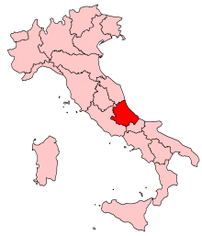 Location of Abruzzo in Italy