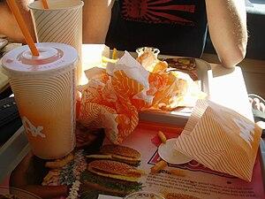 English: A meal at a Max hamburger restaurant ...