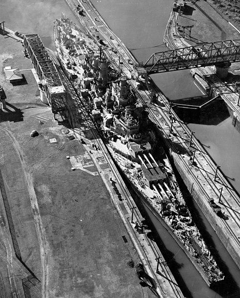 USS Missouri (BB-63) in the Miraflores Locks, Panama Canal, 13 October 1945