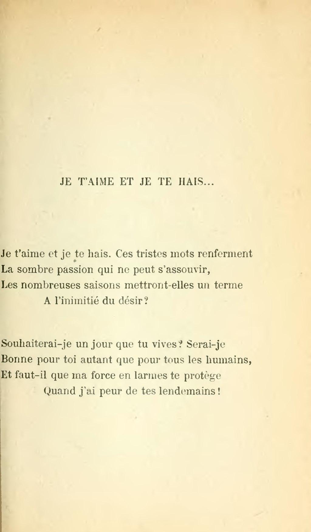 Je T'aime Mais Je Te Hais : t'aime, Page:Noailles, Forces, éternelles,, 1920.djvu/383, Wikisource