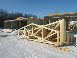 English: Prefabricated wooden trusses, nailed ...