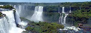 Panorama of the Iguazu waterfalls from Bresil