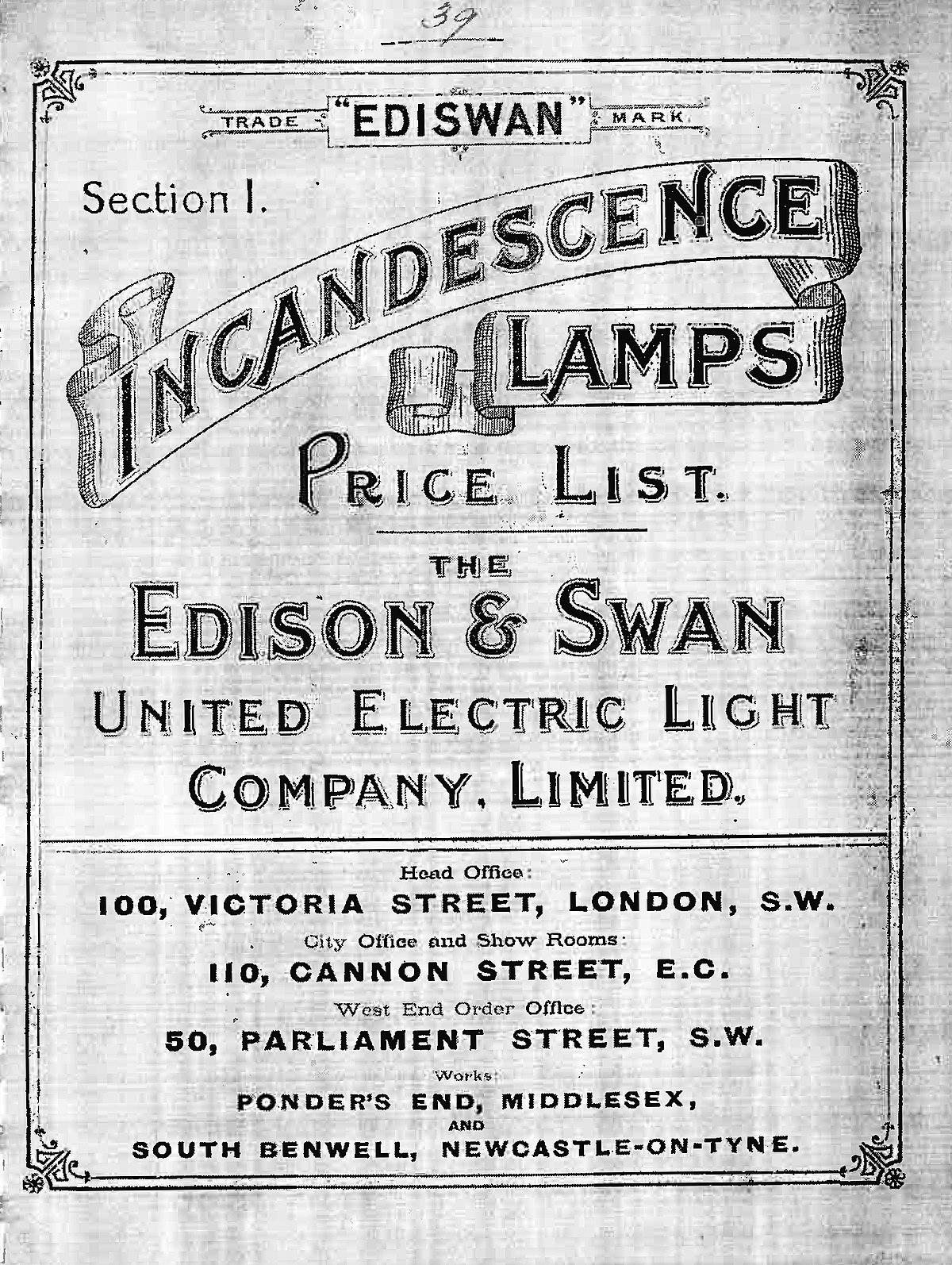 Edison and Swan Electric Light Company  Wikipedia