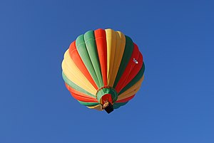 English: A hot air balloon in flight at the Mi...